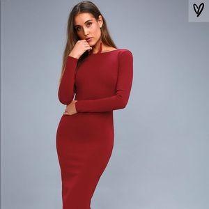 Va Va Voom Backless Midi Dress NWT